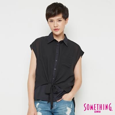 SOMETHING 異材質拼接雙層造型襯衫-女-黑色