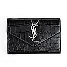 YSL 新款Y字金屬皮革壓紋銀字對折卡夾 (黑色)