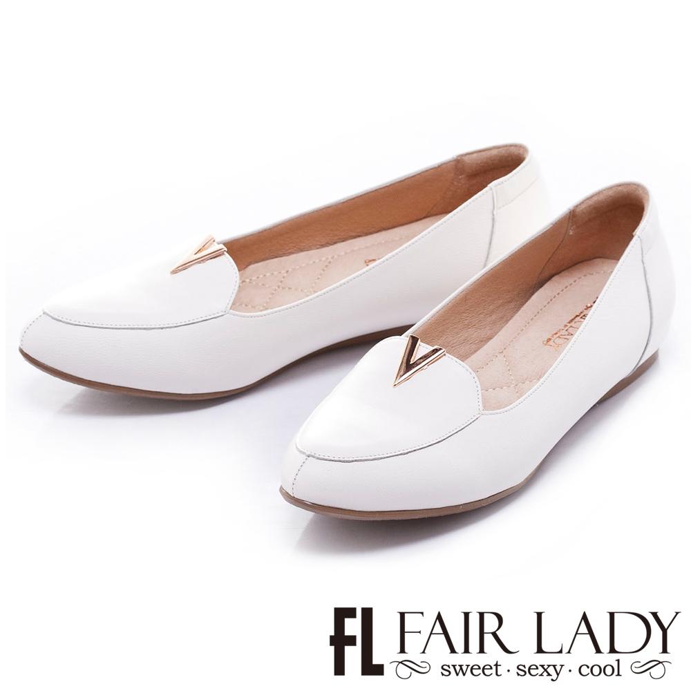 Fair Lady Hi Spring 紳士風V字平底鞋白