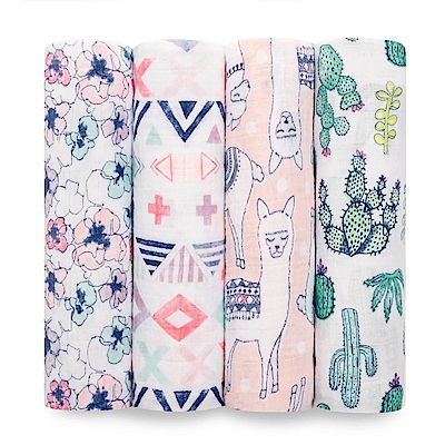 美國aden+anais輕柔新生兒包巾(4入)-熱情彩繪AA2073