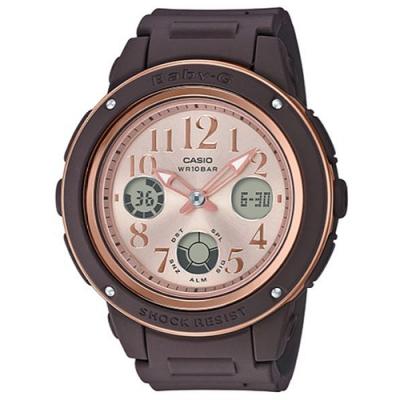 BABY-G 秋意時尚混搭玫瑰金風格運動錶-咖啡x粉(BGA-150PG-5B1)43mm