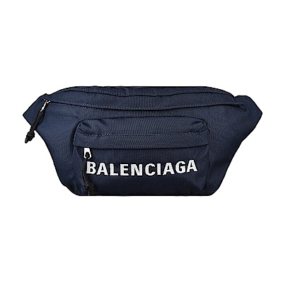BALENCIAGA巴黎世家WHEEL經典刺繡LOGO尼龍拉鍊胸腰包(午夜藍)