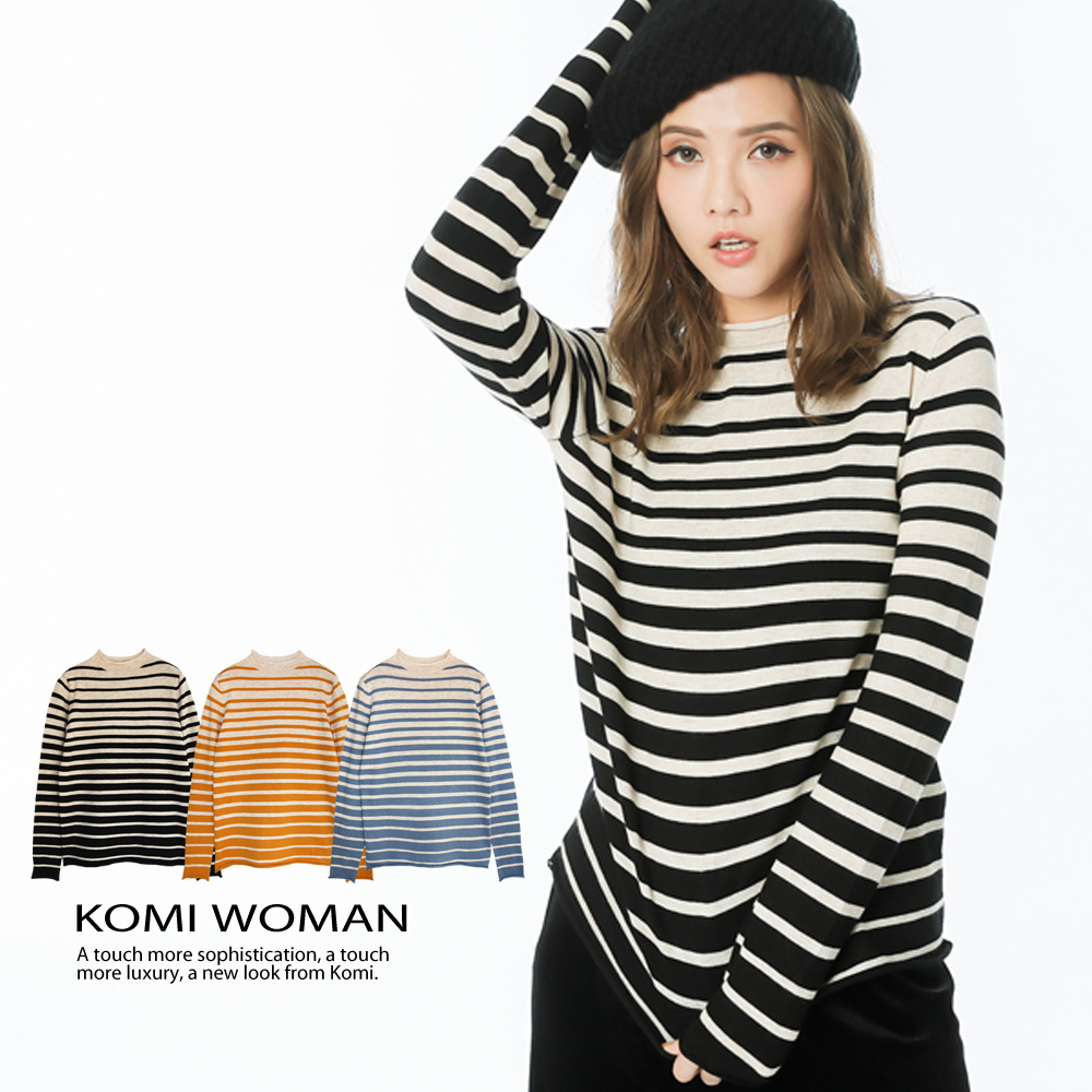 【KOMI】花紗配色條紋小立領針織毛衣‧三色