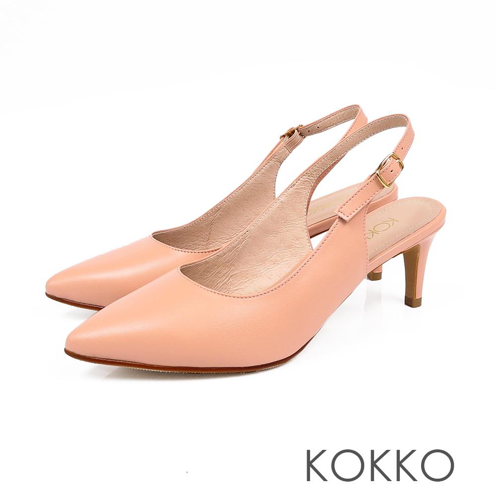 KOKKO - 花開燦爛後拉帶純色尖頭高跟鞋-珊瑚橘