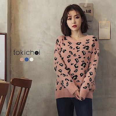 東京著衣 韓系甜美多色豹紋金蔥點綴毛衣(共三色)