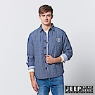 JEEP 素色格紋長袖襯衫式外套-藍色