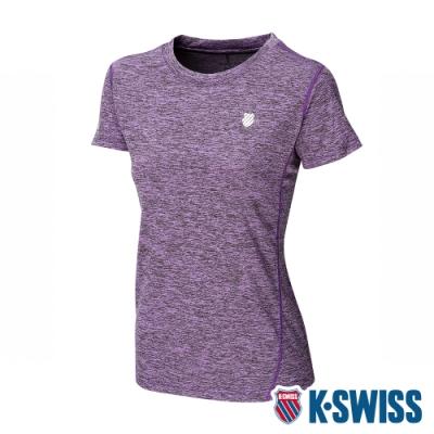 K-SWISS Small Neon Logo Tee排汗T恤-女-紫