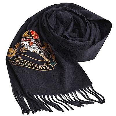 BURBERRY 品牌經典徽標喀什米爾圍巾(海軍藍/168x30)