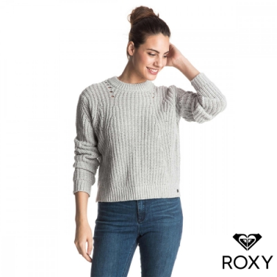 【ROXY】BRIGHT WHITES 純棉針織衫 淺灰