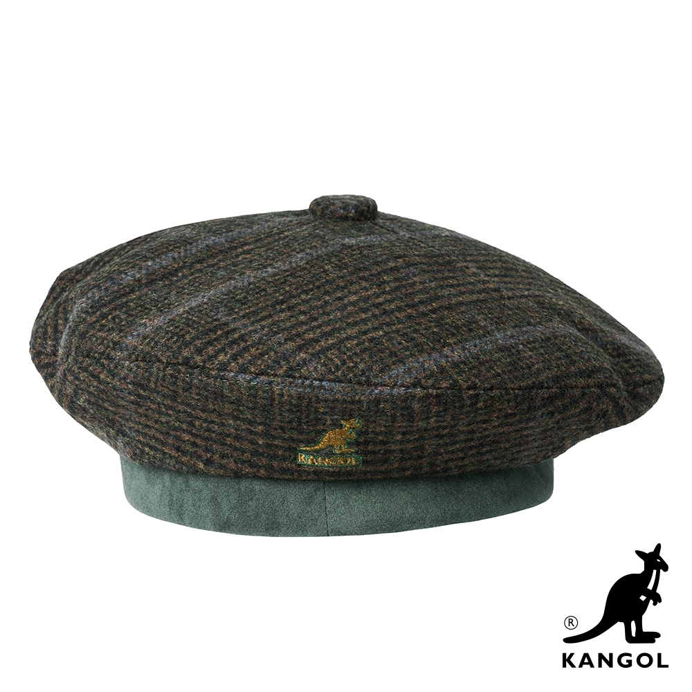 KANGOL-格紋貝蕾帽-綠色