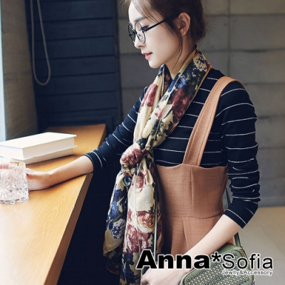 【2件450】AnnaSofia 彩花繽紛 拷克邊韓國棉圍巾披肩(黃駝系)