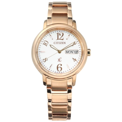CITIZEN XC 光動能 藍寶石水晶玻璃 不鏽鋼手錶-銀白x鍍玫瑰金/33mm