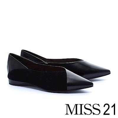平底鞋 MISS 21 拼接質感全真皮素色平底鞋-黑