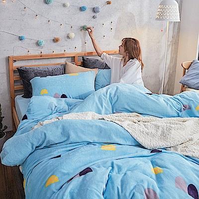 戀家小舖 / 法蘭絨  單人床包兩用毯組  卡爾點點  保暖抗寒
