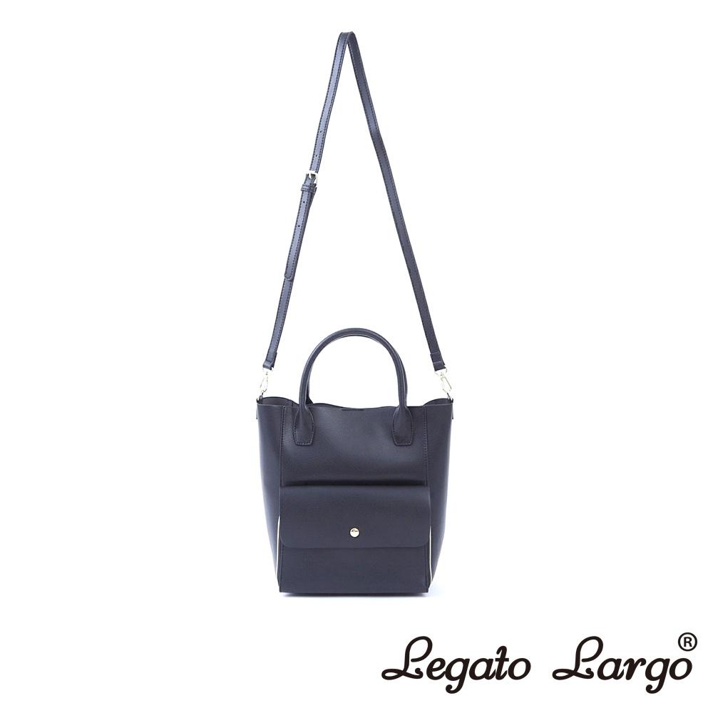 Legato Largo Lusso 氣質百搭款2WAY手提斜背兩用包 黑灰色