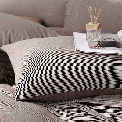 OLIVIA 天竺棉  見晴 棕  美式薄枕套 兩入   100%新疆純棉