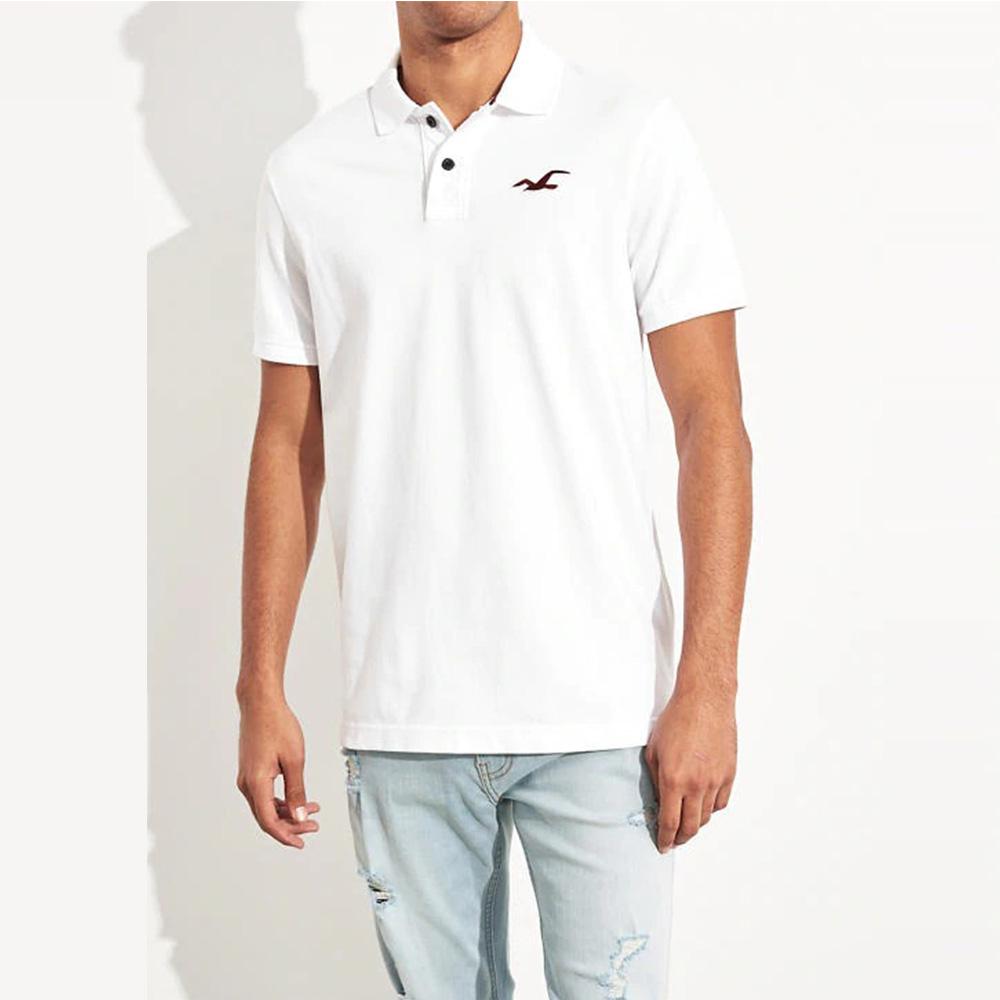 海鷗 Hollister HCO 限定款經典電繡大海鷗短袖Polo衫-白色
