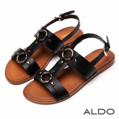 ALDO 原色真皮鞋墊佐金屬拉帶木紋跟涼鞋~尊爵黑色