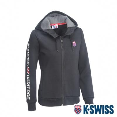 K-SWISS Shield Logo刷毛連帽外套-女-黑