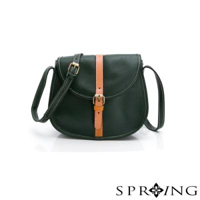 SPRING-經典牛皮斜背包-橄欖綠