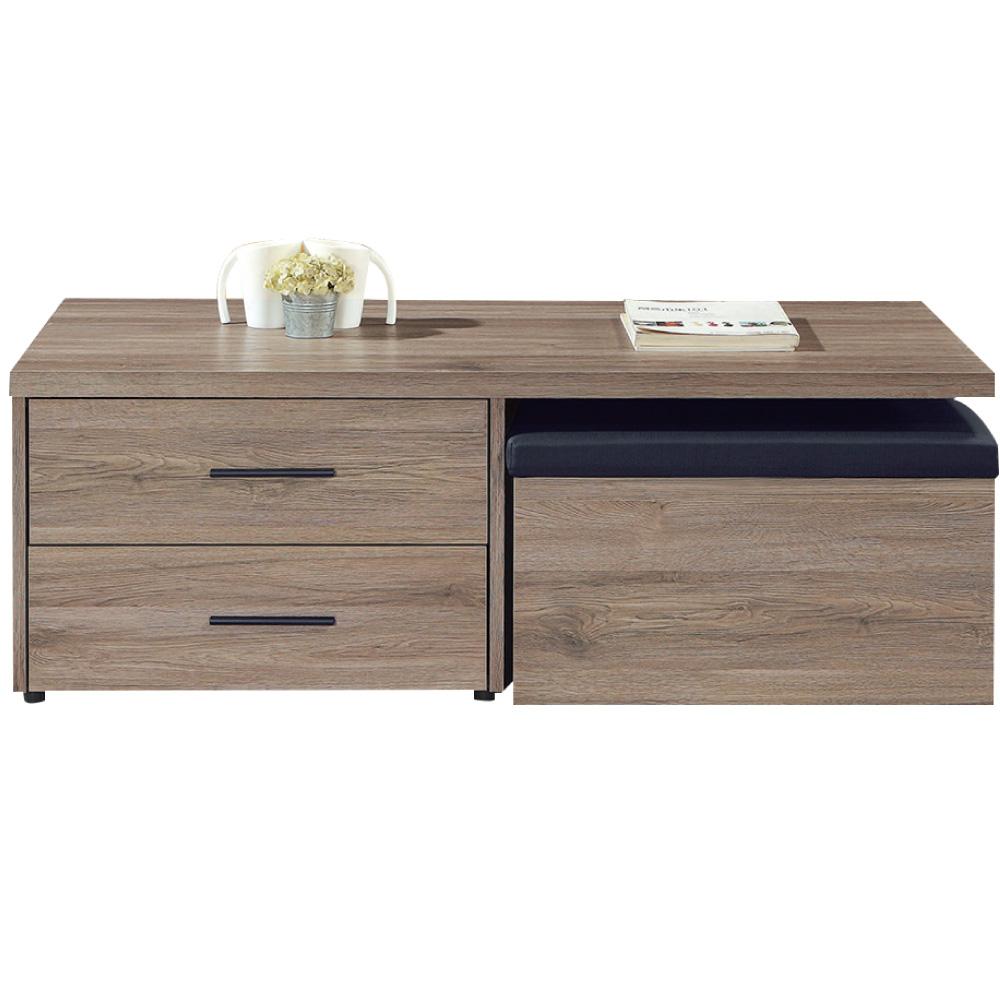 文創集 蘿莉4尺木紋大茶几(二色+附贈收納椅凳一張)-120x60x45cm免組