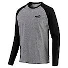 PUMA-男性基本系列素面兩色長薄T恤-中麻花灰-亞規