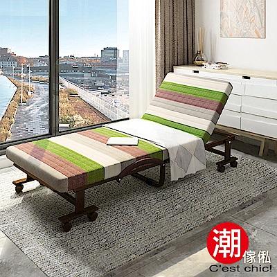 C est Chic-哲學之道6段收納折疊床-幅60cm(可拆洗免安裝)-褐綠條紋