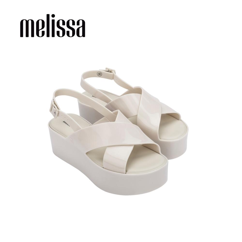 Melissa  ESSENTIAL 厚底交寬帶叉造型涼鞋- 白