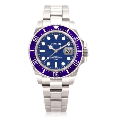 HYUN炫 男士設計精品錶-白鋼藍底