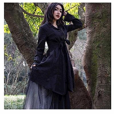 設計所在Style-暗黑風麻料綁帶中長版風衣外套