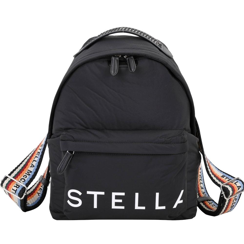 Stella McCartney ECONYL 字母編織背帶再生尼龍後背包(黑色)
