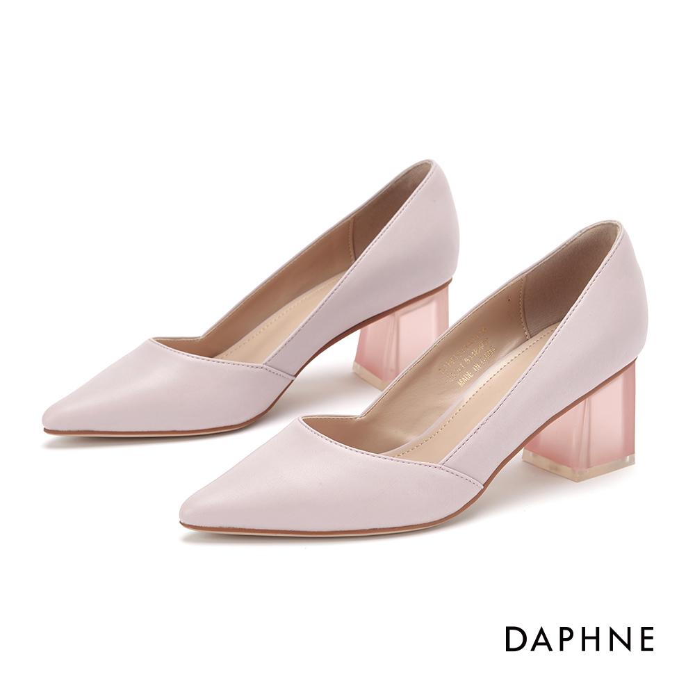達芙妮DAPHNE 高跟鞋-經典撞色復古粗跟鞋-粉紫 @ Y!購物