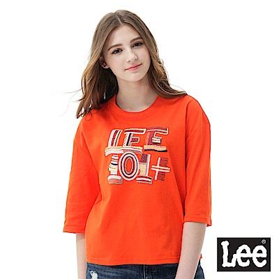 Lee 101+刺繡七分袖圓領TEE/101+亮橙色-女款