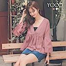 東京著衣-yoco 柔情香頌布蕾絲V領棉質喇叭袖上衣-S.M.L(共二色)