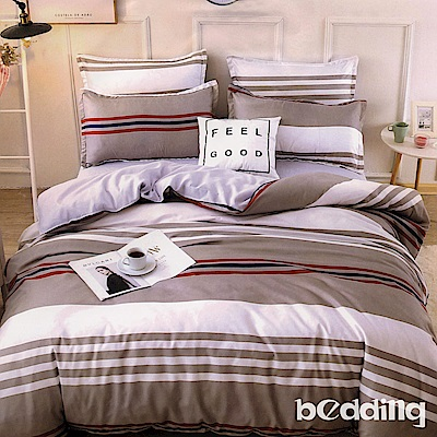 BEDDING-活性印染雙人鋪棉床包兩用被套四件組-炫彩條紋