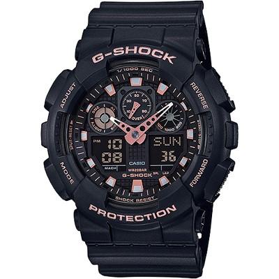 G-SHOCK 新系列街頭時尚雙顯腕錶-玫瑰金(GA-100GBX-1A4)/51mm