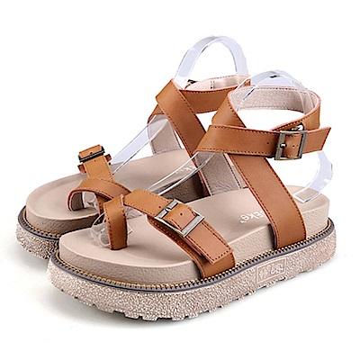 KEITH-WILL時尚鞋館 簡約休閒舒適厚底羅馬涼鞋-深棕色