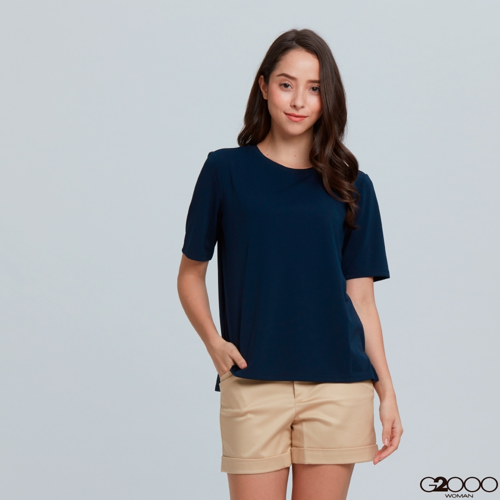 G2000素面短袖休閒T裇-藍色