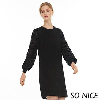 SO NICE優雅拼接袖羅馬布洋裝