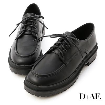 D+AF 純真年代.鬆糕底綁帶牛津鞋*黑