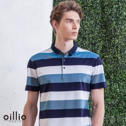 oillio歐洲貴族 FIT修身男裝 天絲棉POLO衫 溫柔紳士柔手感 透氣舒適 藍