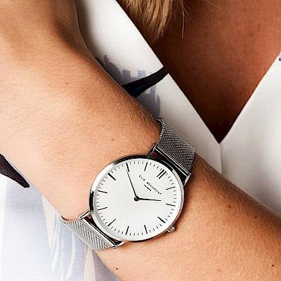 Elie Beaumont 英國時尚手錶 牛津米蘭錶帶系列 白錶盤x銀色錶帶錶框 38 mm