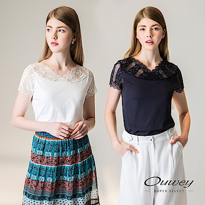 OUWEY歐薇 性感剪接縷空蕾絲V領上衣(白)-動態show