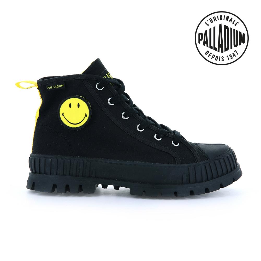 PALLADIUM PALLASHOCK SMILEY HI微笑聯名巧克力厚底鞋-中性-黑