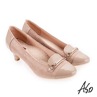 A.S.O 美型對策 典雅飾釦高跟鞋 卡其