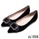 da0108皮帶鑽釦飾尖頭羊皮平底鞋- 都會淑女-黑