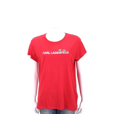 KARL LAGERFELD K/IKONIK 躲貓貓LOGO設計紅色棉質T恤