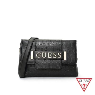 GUESS-女包-LOGO壓紋肩背包-黑