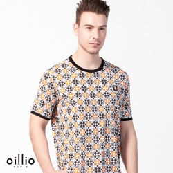 oillio歐洲貴族 極致涼感氣爽圓領T恤 超柔不易皺衣料 黃色