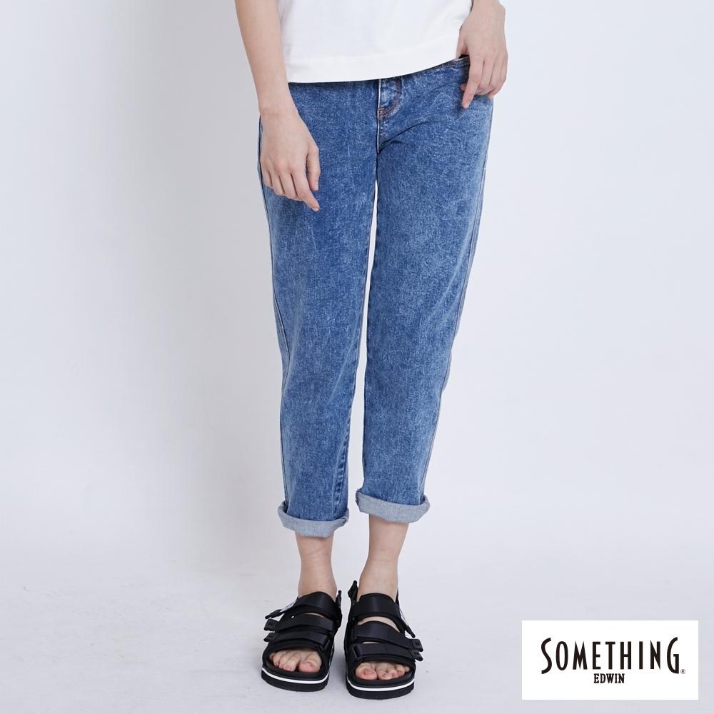 SOMETHING NEO FIT 復古綁結 中直筒牛仔褲-女-拔洗藍